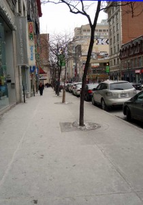 Rue-Sainte-Catherine covered with a fine dusting of heavenly snow