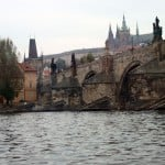Looking up to the castle and Charles Bridge from the river