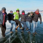 Aussie tourists dancing on Lake Baikal