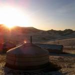 Mongolian ger at sunset